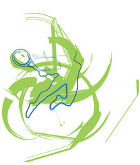 Sketch of man playing tennis. Vector illustration