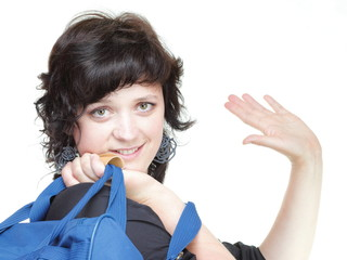 woman waving hand - goodbye, bag isolated