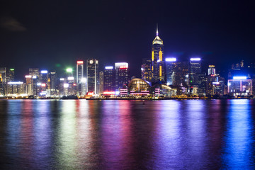Skyline of Victoria Harbour in Hong Kong at night