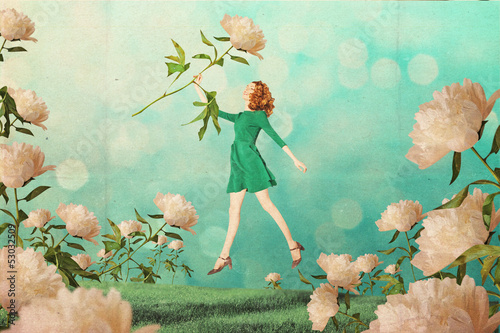 art vintage collage with beautiful woman poster