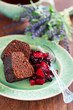 Chocolate cake with oat bran and pear-currant compote