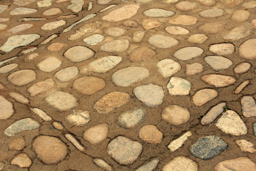 Cobblestone paved ground