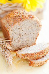 Homemade bread from oat bran, selective focus