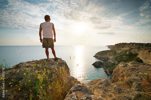 Man relax on sea