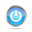 blue power button icon on ta white background
