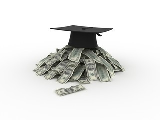 graduation hat with dollar money