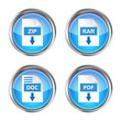 set of blue rar, zip, doc and pdf download icons on a white back