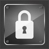 glass padlock icon on a metallic background