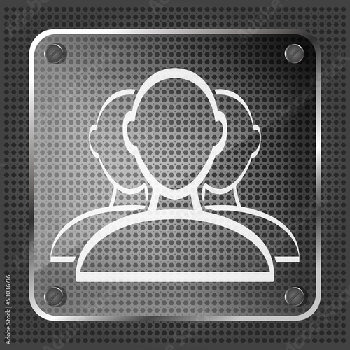 glass user group web icon on a metallic background