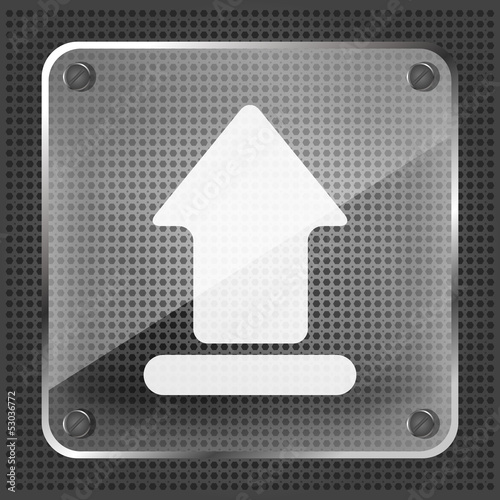 glass upload icon on a metallic background