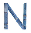 Jeans alphabet on white  letter N