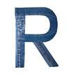 Jeans alphabet on white  letter R