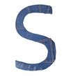 Jeans alphabet on white  letter S
