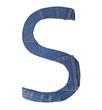 Jeans alphabet on white  letter S