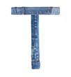 Jeans alphabet on white  letter T