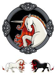 Stylized Unicorn in ornamental frame, vector