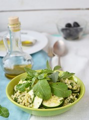 couscous ,zucchini and herbs salad.