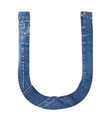 Jeans alphabet on white  letter U
