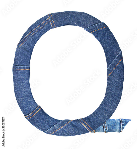 Jeans alphabet on white  letter Q