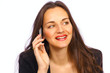 Woman on phone with pretty smile