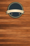 Vector wood texture with vintage badges
