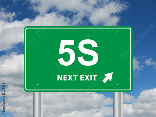 """5S NEXT EXIT"" Sign (organization methodology lean process icon)"