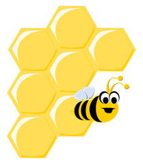 Funny Cartoon Bee and Honeycombs