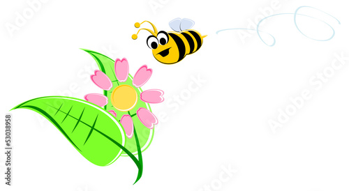 Funny Cartoon Bee and Flower