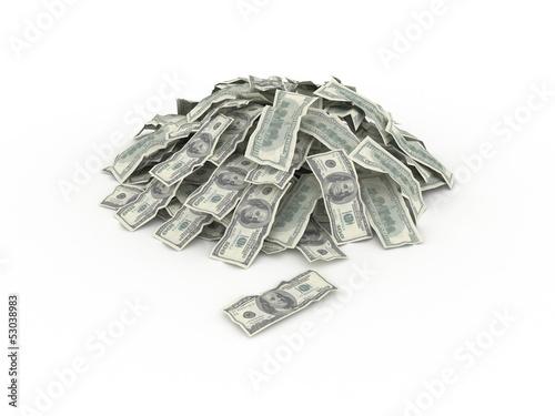 3d illustration of dollar banknotes