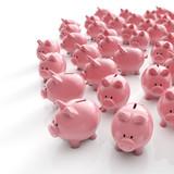 Sparschweine Herde - Geld sparen / 3D Illustration