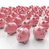 Sparschweine Gruppe - Geld sparen / 3D Illustration - 53039387