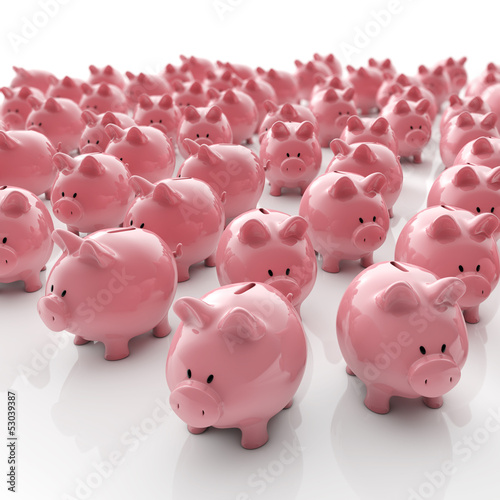 canvas print picture Sparschweine Gruppe - Geld sparen / 3D Illustration