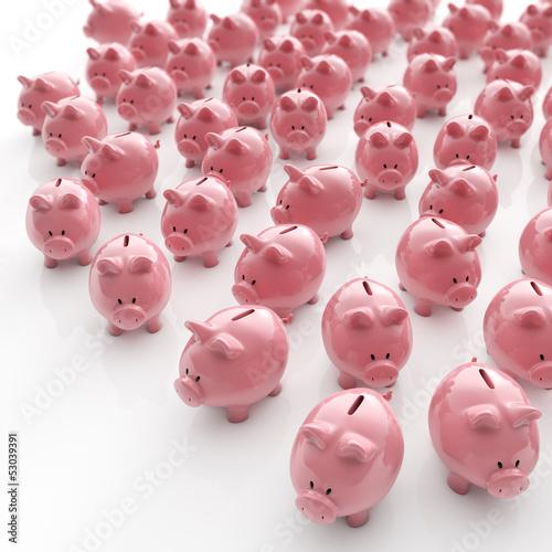 Sparschweine Herde - Geldanlage / 3D Illustration