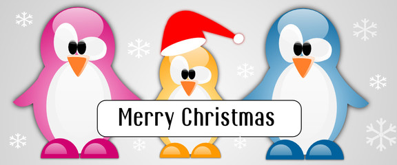 Merry christmas card with family penguins