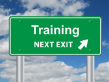 """TRAINING NEXT EXIT"" Sign (continuing education skills cv job)"