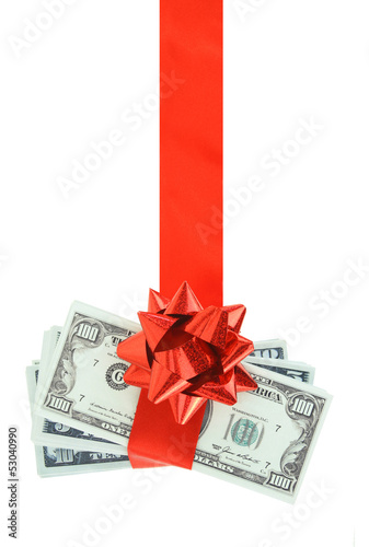 Gift of money hanging on red ribbon