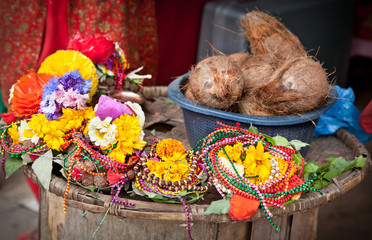 Floral arrangment for holi festival and religious offerings