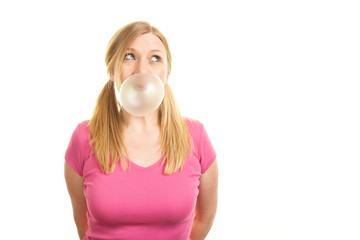 Chewing sweet bubblegum