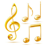 Gold icons of a Treble clef and music notes.