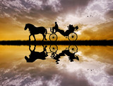 carriage ride at sunset