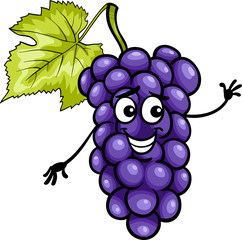 funny blue grapes fruit cartoon illustration