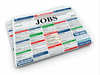 Search job. Newspaper with advertisments. 3d