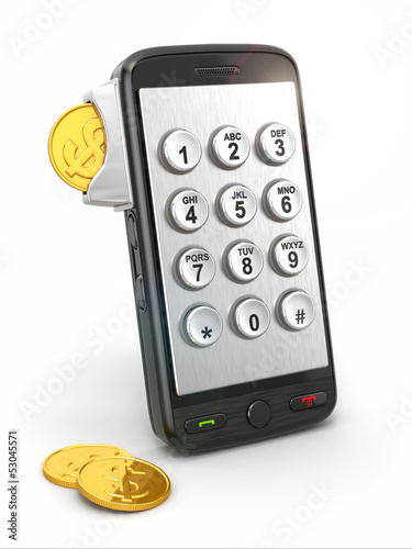 Mobile phone payment. Payphone keyboartd and coins.