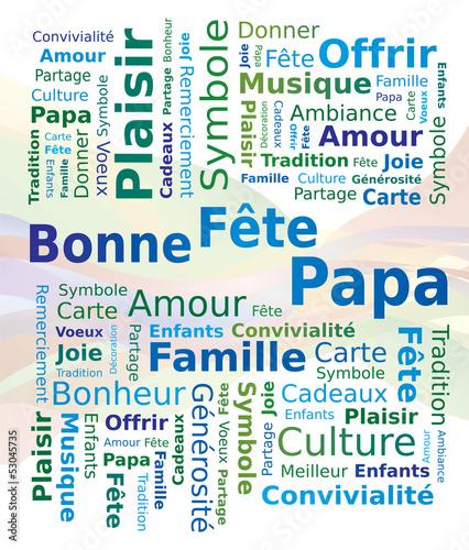 Nuage de Mots en Français - Bonne Fête Papa - Fête des Pères