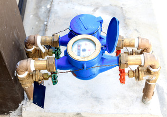 colorful water meter and valve