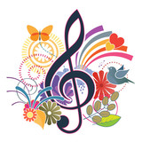 Treble clef music background