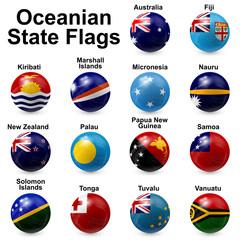 Oceania State Flags - ball shape