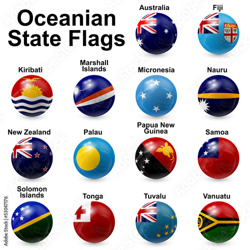 Oceania State Flags - ball shape