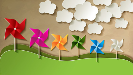 Green Eco Energy Power Papier Papiermühle Vintage Wolken