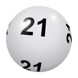 Loto, boule blanche numéro 21